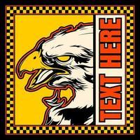 águia careca no quadro quadriculado amarelo com copyspace