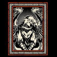 águia de estilo grunge com grandes asas no quadro vetor