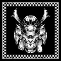 cabeça de samurai de caveira grunge no quadro vetor