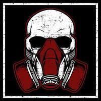 cabeça de caveira de estilo grunge usando máscara de gás