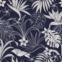 padrão tropical azul e branco de folhas e flores vetor