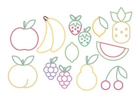 Conjunto de frutas vetoriais