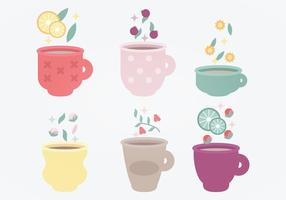 Conjunto de vetores de copos de chá