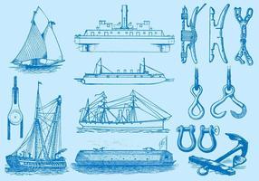 Navios e itens de navegação vetor