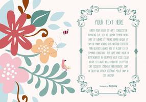 Modelo de texto floral bonito vetor