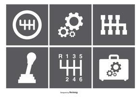 Ícones variados da caixa de engrenagem vetor