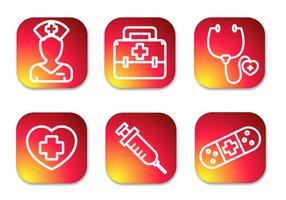 Ícones de gradiente de enfermeira