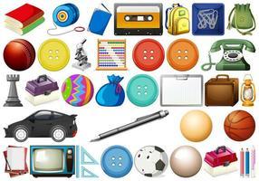 objetos variados de escritório, casa e escola vetor