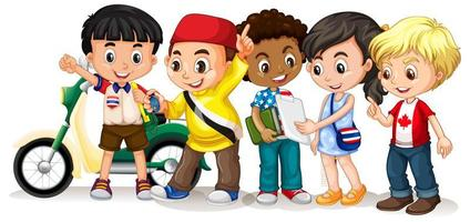 crianças felizes em poses diferentes vetor