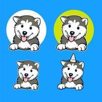 conjunto de desenhos animados de cachorro husky vetor
