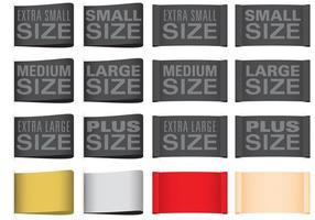 Etiquetas de tamanho de roupa vetor