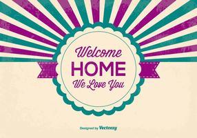 Estilo retro, bem-vindo ilustração em casa vetor