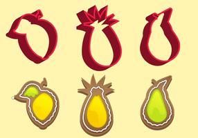 Cortador de bolinhos conjunto de vetores de frutas c