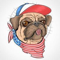 cão pug com bandana da bandeira americana e chapéu vetor