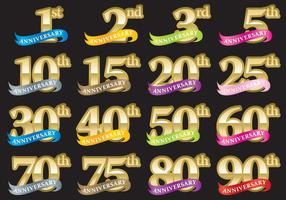 Números de aniversário com fitas vetor