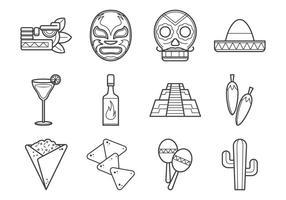 Coleção Mexicana de Ícones vetor