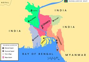 Livre Vector do Mapa de Bangladesh