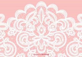 Textura do laço branco do vetor no fundo cor-de-rosa