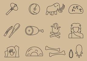 Ícones de linha pré-históricos vetor