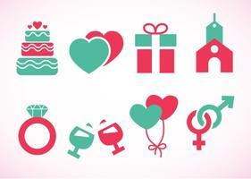 Ícones dos elementos do casamento vetor