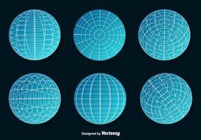 Conjunto de Blue Wire Frame Planet Spheres Vector