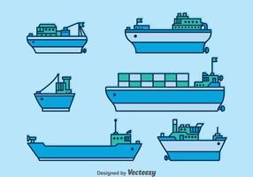 Conjunto de vetores de barcos e barcos