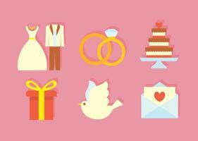 Ícones planos do casamento vetor