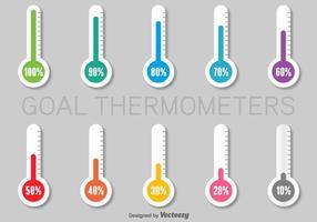 Conjunto de Termômetros de Papel Infográficos Coloridos vetor