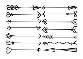 Conjunto de setas desenhadas a mão do vetor