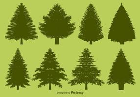 Conjunto de silhuetas de pinheiro vetorial