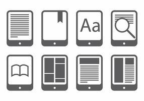 Conjunto de ícones E Reader vetor