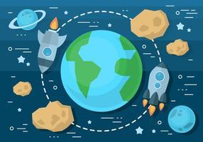 Ilustração plana livre do vetor do espaço plano com navio espacial