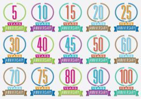 Títulos Aniversários Coloridos vetor