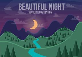 Paisagem bonita do vetor da noite bonita