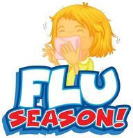 cartaz de temporada de gripe com criança
