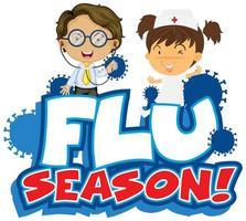 design de temporada de gripe com médico e enfermeiro