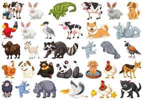 conjunto diversificado de animais isolados no branco vetor