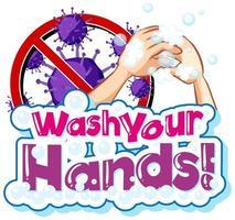 design de coronavírus com tema de lavar as mãos vetor