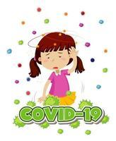 cartaz de tema de coronavírus com menina e dor de cabeça vetor