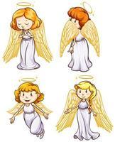 conjunto simples de esboços de anjos vetor