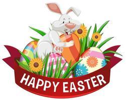 cartaz de feliz páscoa com ovos pintados e coelho