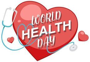 coração e estetoscópio para design de dia mundial da saúde vetor