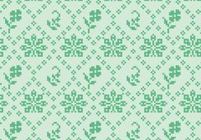 Costurando padrão floral verde vetor
