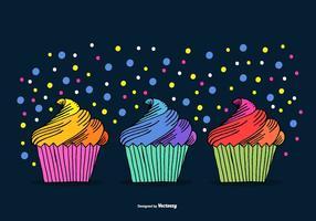 Vetores de Cupcake desenhados à mão