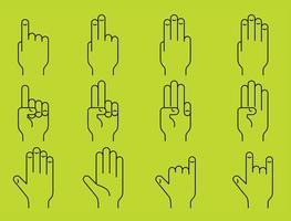 Ícones da linha das mãos vetor