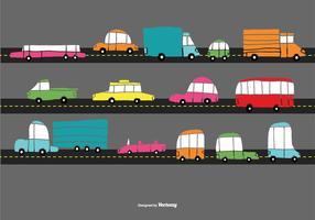 Vetores de carro de trânsito desenhados a mão