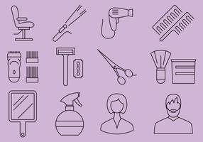 Salão de beleza e ícones da barbearia vetor