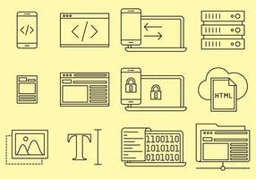Ícones da linha de design da Web vetor