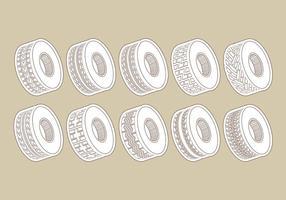 Ícones de pneu Tractor vetor