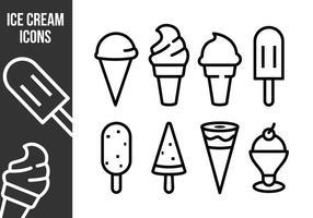 Ícones gratuitos de sorvete vetor